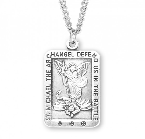 Men's Rectangular Saint Michael Medal - Sterling Silver