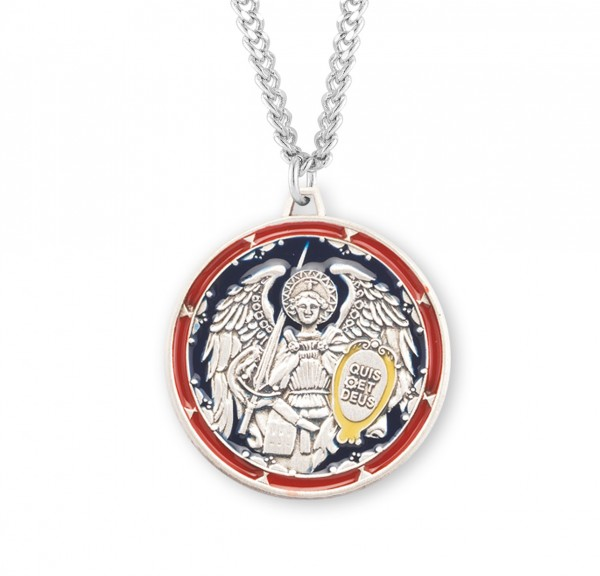 Men's Red and Blue Enamel Saint Michael Medal - Sterling Silver