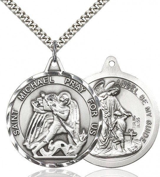 Men's Large Round Double-sided St. Michael Guardian Angel Medal - Sterling Silver