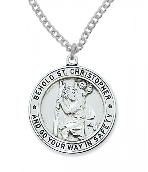 Silver Men S Round St Christopher Necklace
