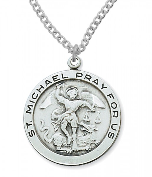 Men's Round St. Michael Medal in Sterling or Pewter - Sterling Silver