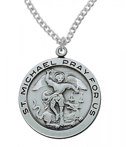 Men's Round St. Michael Medal in Sterling or Pewter - Pewter