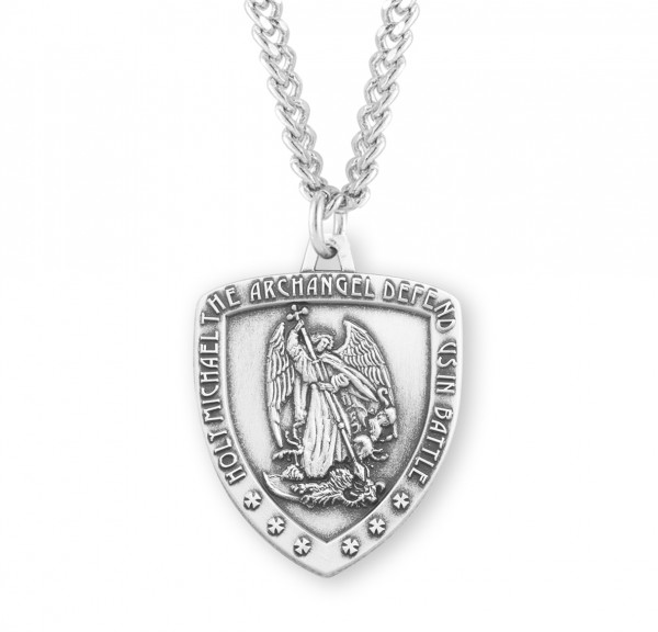 Men's Saint Michael Heater Shield Medal - Sterling Silver