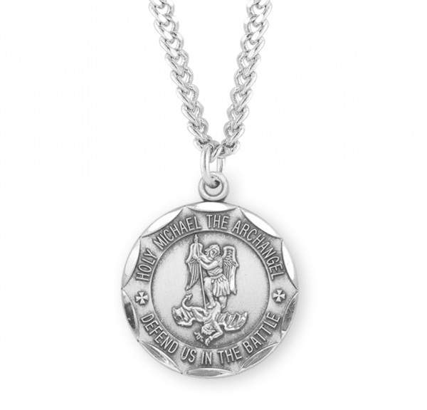 Men's Saint Michael Necklace with Scalloped Round Edge - Sterling Silver