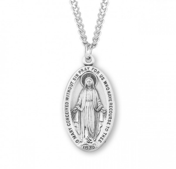 Men's Silver Oval Miraculous Medal 1830 Necklace - Sterling Silver