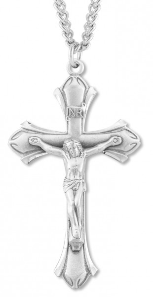 Men's Simple Budded Crucifix Pendant - Sterling Silver
