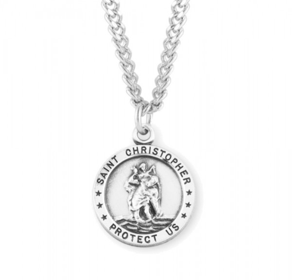 Men's Simple St Christopher Necklace - Sterling Silver