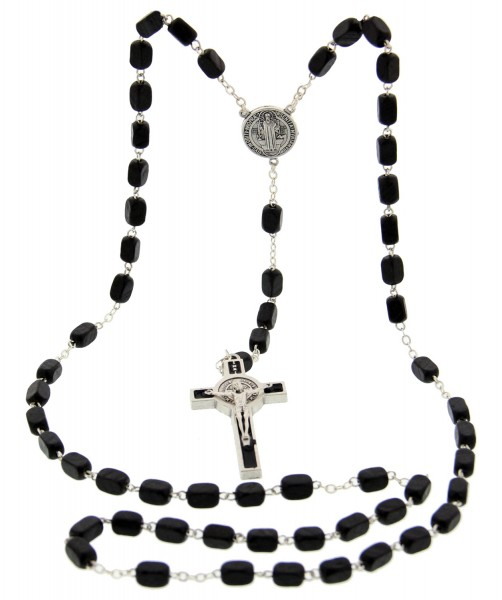 Men's St. Benedict Black Wood Rosary 7mm - Black