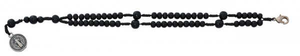 "Men's St. Benedict Rosary Bracelet with Double String Dark Wood Beads 8"" - Black"