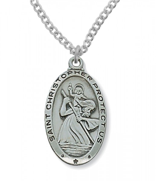 Men's St. Christopher Medal Sterling Silver or Pewter - Pewter