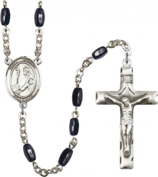 Men's St. Dominic Rosary in Silver-Plate 7 Color Options - Black | Silver