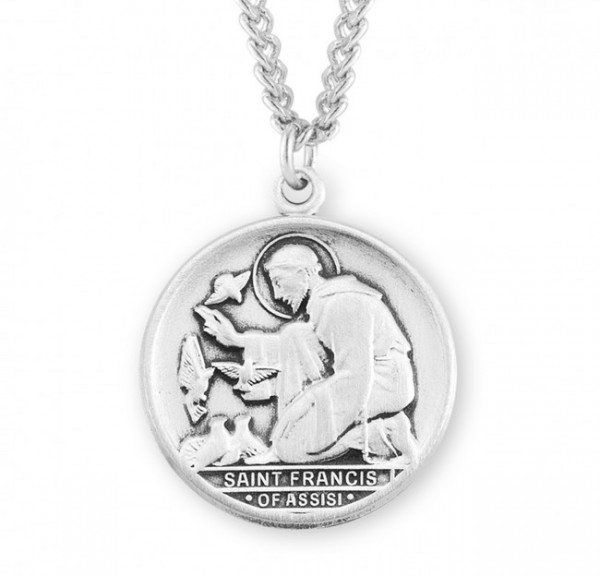 Men's St Francis of Assisi Round Medal 1 - Sterling Silver