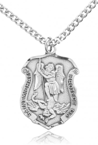 in st silver lines to zoom medal v drag image necklace over pendant larger engravable roll sterling saint p michael