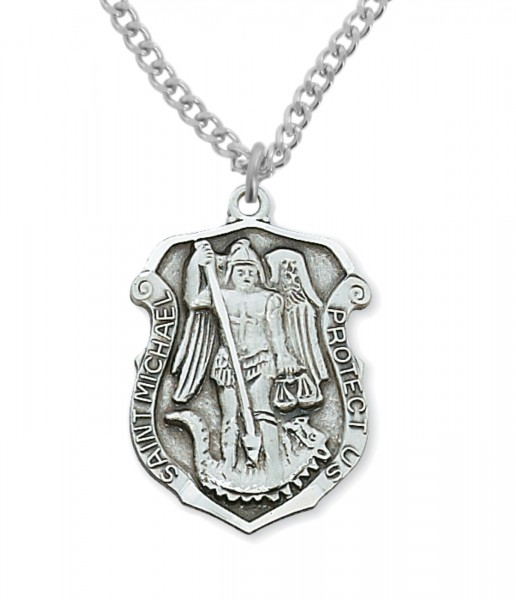 Men's St. Michael Protect Us Medal - Silver