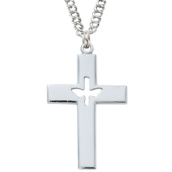 Men's Cut-Out Holy Spirit Cross Necklace - Silver