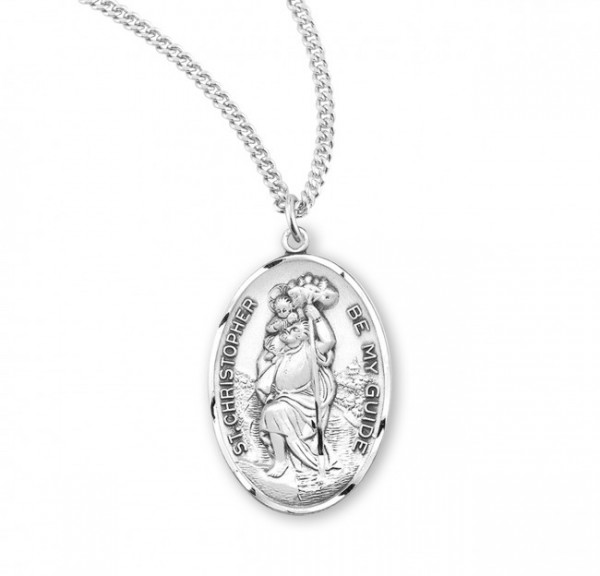 Men's Sterling Silver Saint Christopher Be My Guide Medal - Sterling Silver