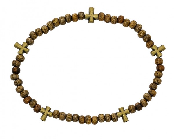 "Men's Stretch Rosary Bracelet with Alternating Cross and 5mm Light Brow Wood Beads 8"" - Brown"