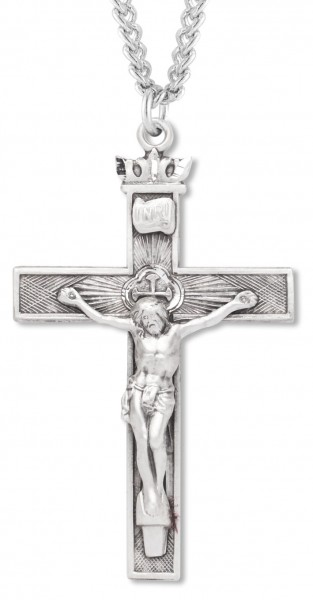Men's Textured Crucifix with Crown Top - Sterling Silver