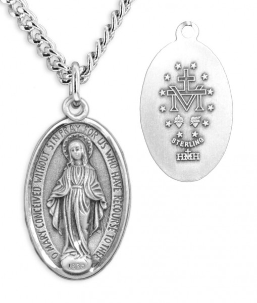 Men's Thin Border Miraculous Medal with Chain - Sterling Silver