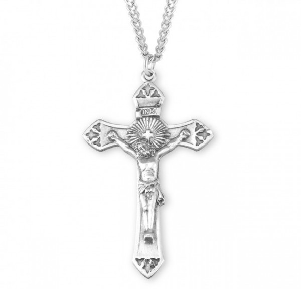 Men's Tri-Tip Crucifix Necklace - Sterling Silver
