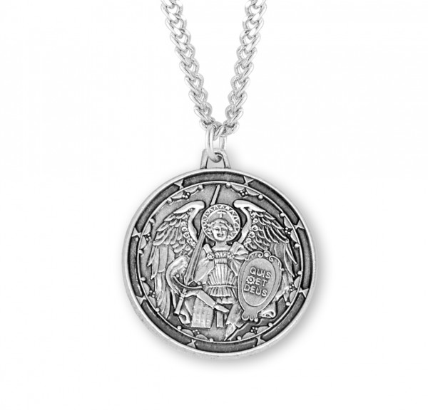 Men's Who Is Like God St. Michael Medal - Sterling Silver