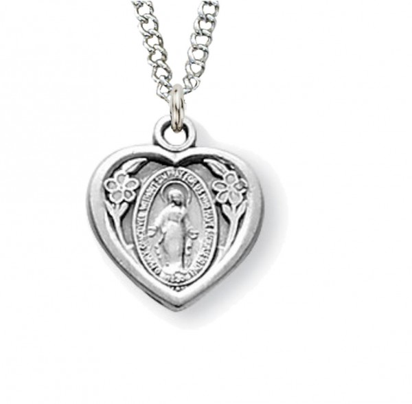 Child Size Heart Miraculous Baby Medal - Sterling Silver