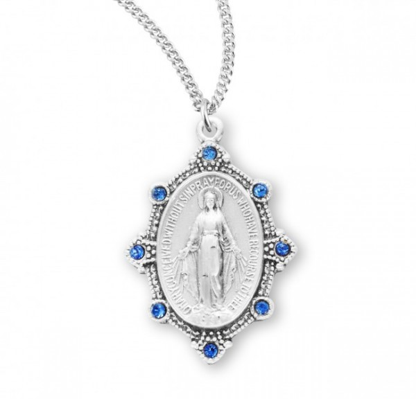 Miraculous Medal with Crystal Stones - Three Colors - Silver | Blue