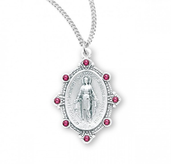 Miraculous Medal with Crystal Stones - Three Colors - Silver | Pink