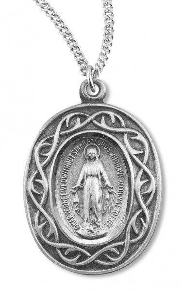Miraculous Medal with Crown of Thorns Border - Sterling Silver