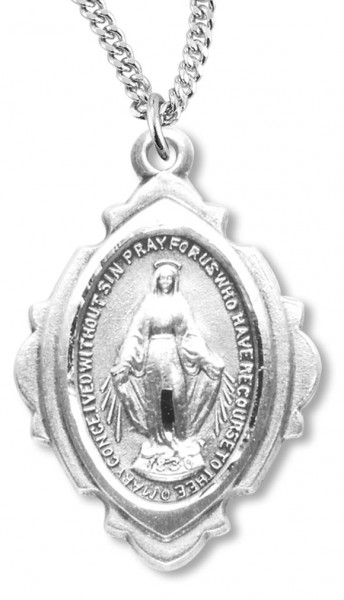 Miraculous Medal with Cut Out Border - Sterling Silver
