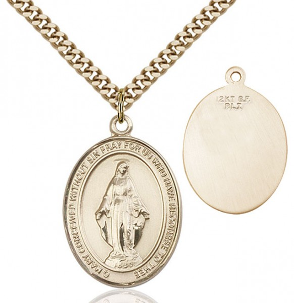 Oval Sterling Silver Miraculous Medal Necklace - 14KT Gold Filled