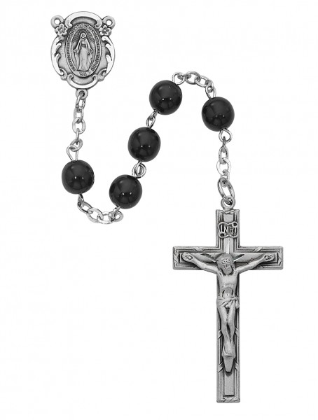Miraculous Men's Rosary with Black 7mm Beads - Black