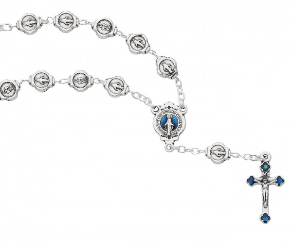 Miraculous Metal Auto Rosary - Silver