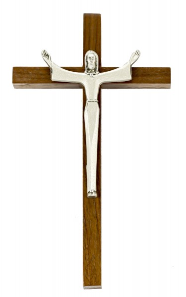 "Modernistic Risen Christ Wall Crucifix in Walnut and Antique Pewter Finish Corpus 7"" - Brown"