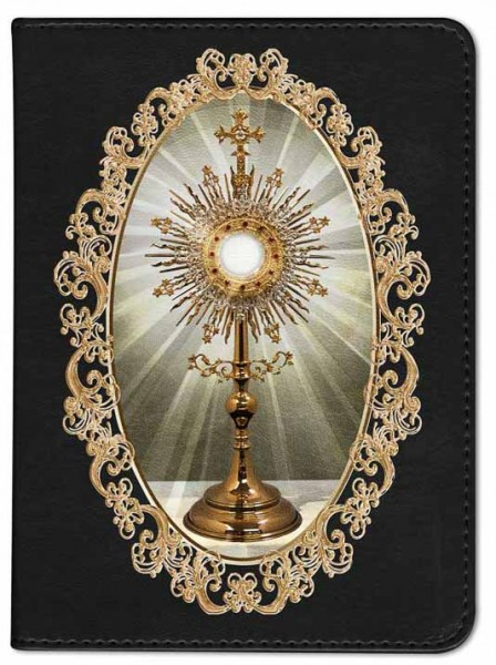 Monstrance with Elegant Border Catholic Bible - Black