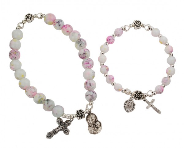 Mother and Daughter Stretch Bracelet Set with Miraculous Medal - White | Pink