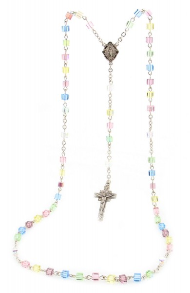Multi Color Swarovski Crystal Sterling Silver Rosary - Multi-Color