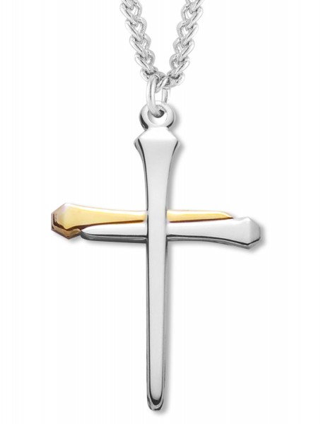 Nail cross pendant sterling silver two tone nail cross pendant sterling silver two tone two tone silver aloadofball Image collections