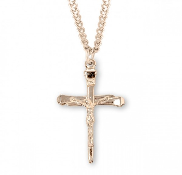 Nail Crucifix Pendant Sterling Silver - Gold Plated