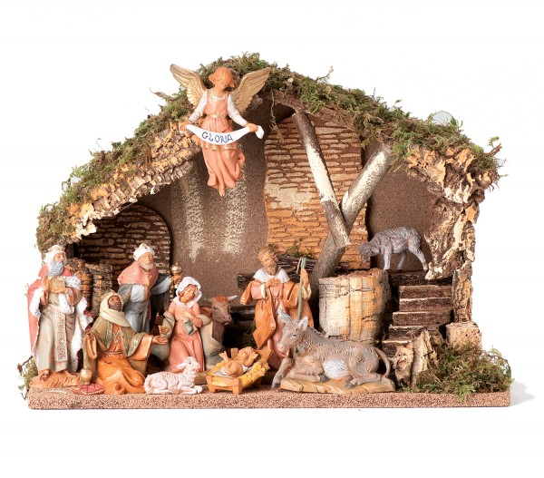 "Nativity Set with Italian Stable - 11.5""H - Multi-Color"