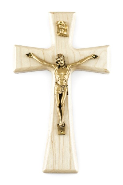 "Natural Maple Wall Crucifix with Antique Gold Corpus 7"" - Brown"