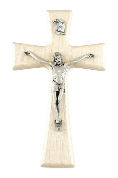 "Natural Maple Wall Crucifix with Pewter Corpus 7"" - Brown"