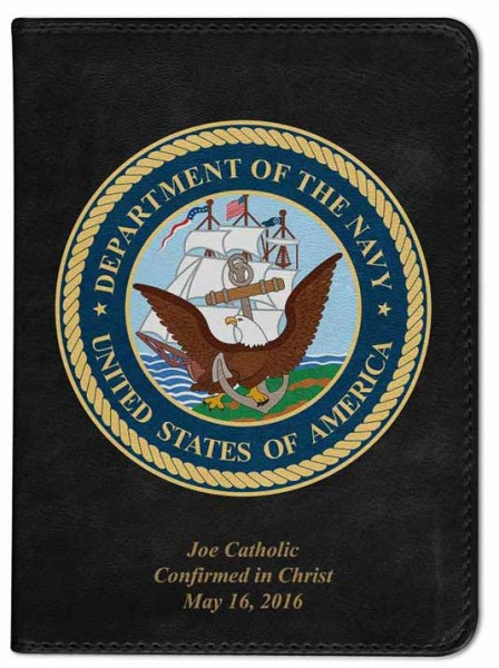 Navy Catholic Bible - Black
