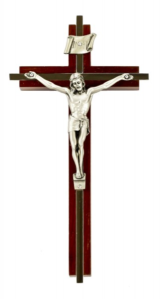 "Nickel Plated Inlay Wall Crucifix with Antique Silver Finish Corpus 8"" - Brown"