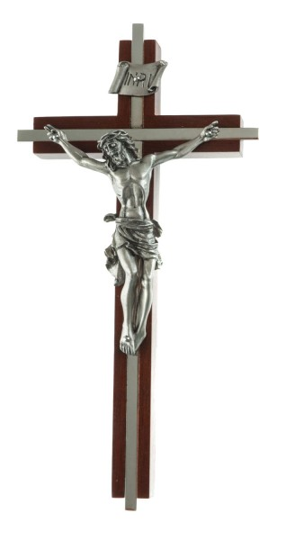 "Nickle Plated Inlay Wall Crucifix in Walnut and Pewter Corpus 8"" - Brown"