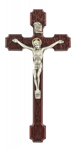 "Notched Edge Cherry Stained Wall Crucifix with Antique Pewter Finish Corpus 8"" - Brown"