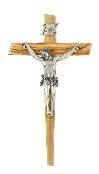 "Notched Edge Olive Wood Wall Crucifix with Antique Pewter Finish Corpus 8"" - Brown"