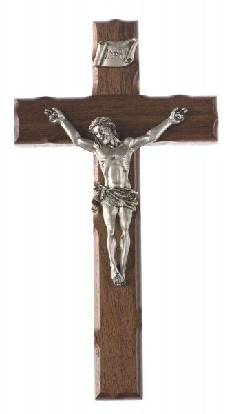 "Notched Edge Walnut Wall Crucifix with Antique Pewter Finish 8"" - Brown"