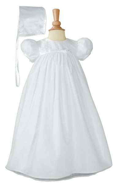 Nylon Tricot Christening Gown with Embroidered Bodice - White