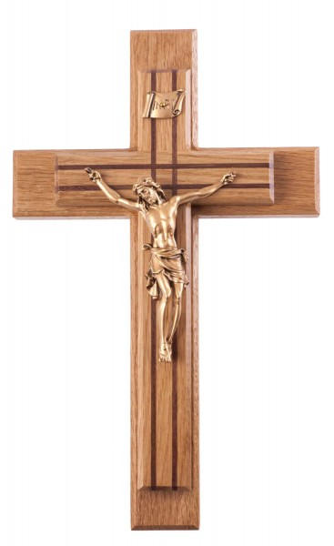 "Oak Sick Call Crucifix Set with Walnut Inlay and Gold Tone Corpus 13"" - Brown"